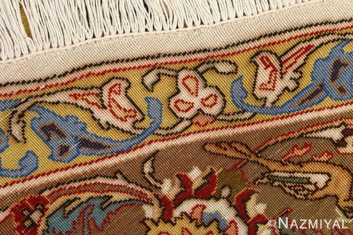 oval hunting scene vintage tabriz rug 51131 weave Nazmiyal