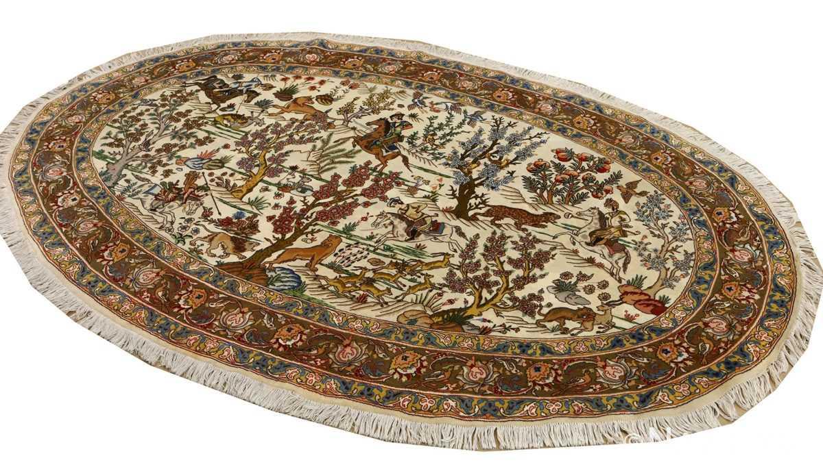 oval hunting scene vintage tabriz rug 51131 whole Nazmiyal