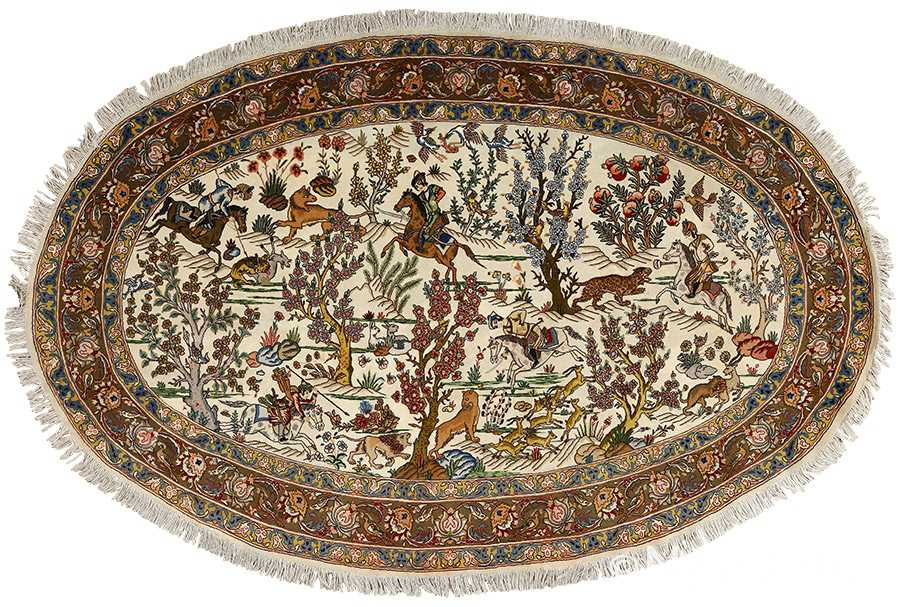 oval hunting scene vintage tabriz rug 51131 Nazmiyal