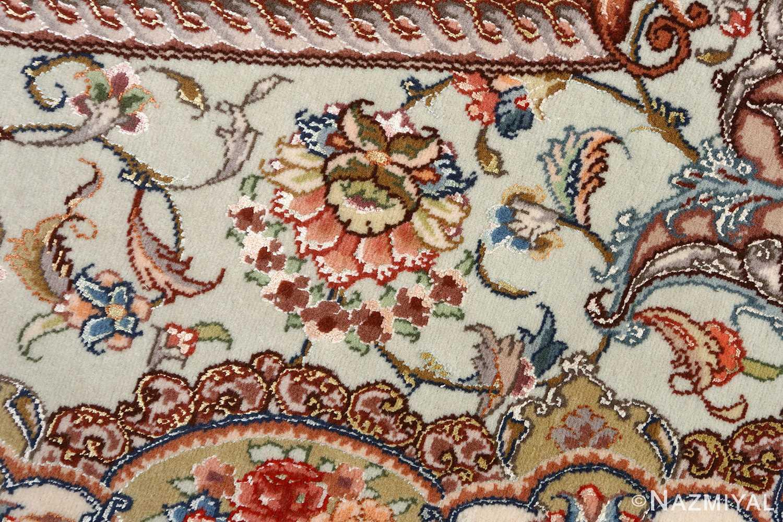 oval vintage tabriz rug 51135 flower Nazmiyal