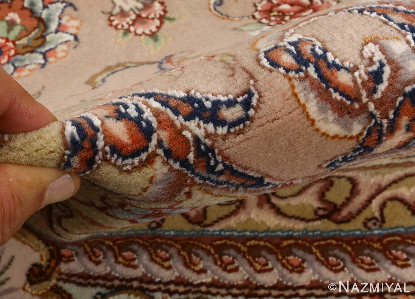 oval vintage tabriz rug 51135 pile Nazmiyal