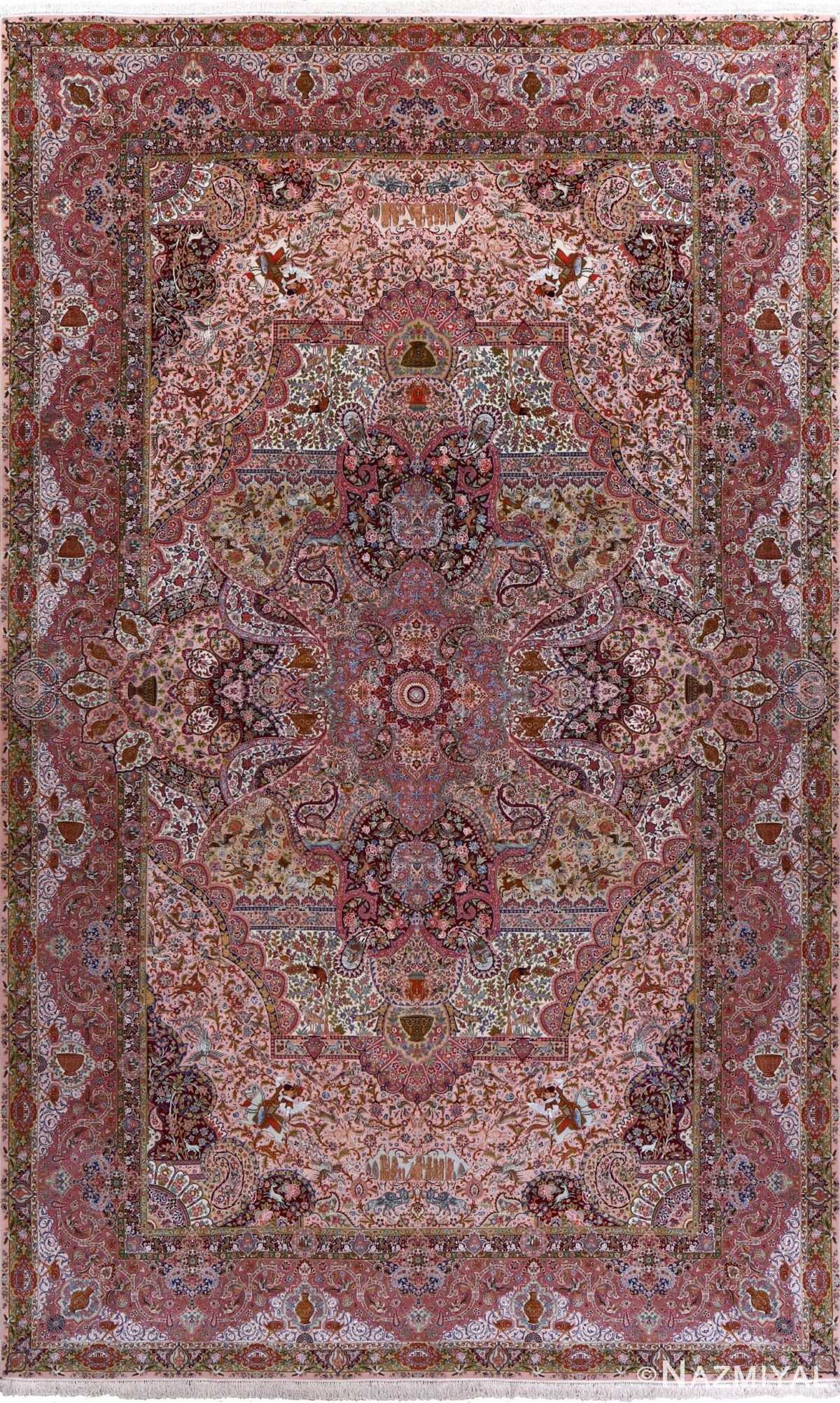 oversized hunting scene vintage tabriz persian rug 51117 Nazmiyal