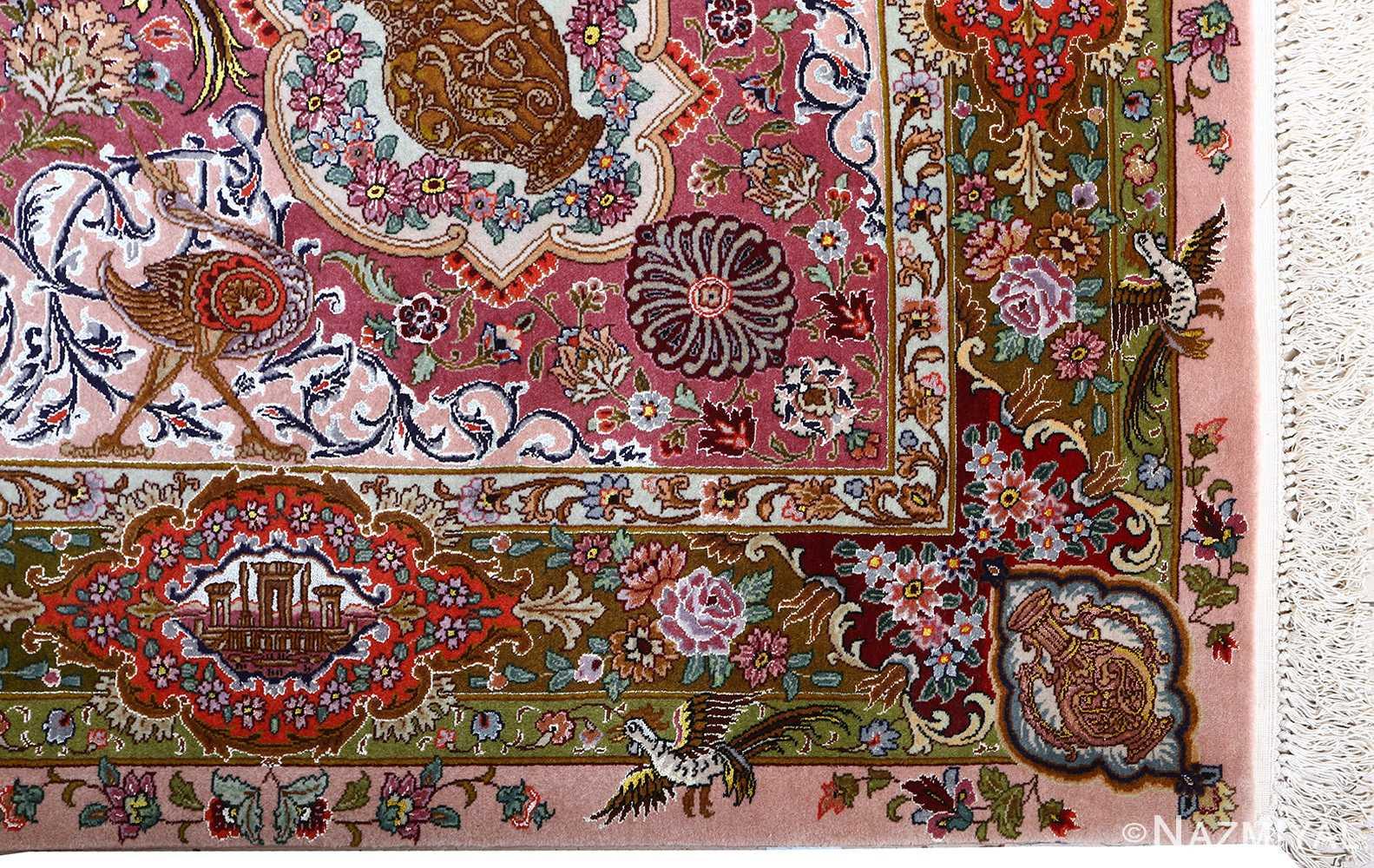 oversized hunting scene vintage tabriz persian rug 51117 corner Nazmiyal