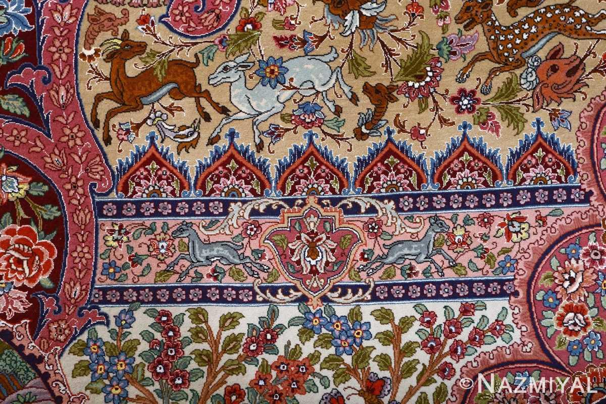 oversized hunting scene vintage tabriz persian rug 51117 gazal Nazmiyal