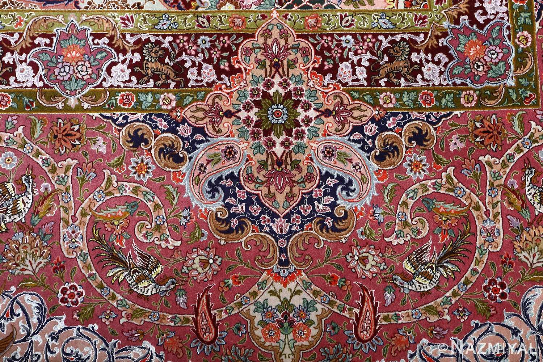 oversized hunting scene vintage tabriz persian rug 51117 green Nazmiyal