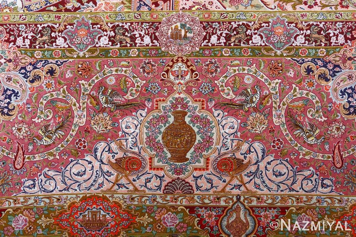 oversized hunting scene vintage tabriz persian rug 51117 ostrich Nazmiyal