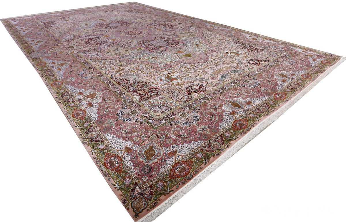 oversized hunting scene vintage tabriz persian rug 51117 side Nazmiyal