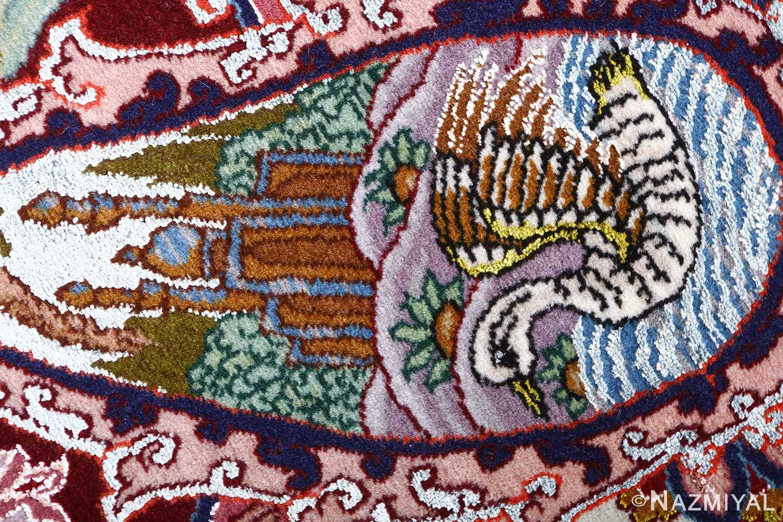 oversized hunting scene vintage tabriz persian rug 51117 swan Nazmiyal