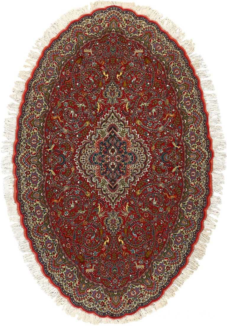 red animal motif vintage tabriz persian rug 51139 Nazmiyal