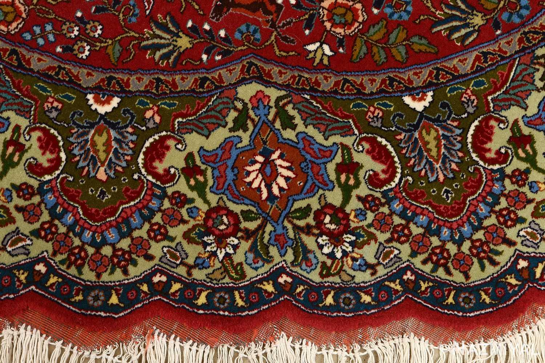 red animal motif vintage tabriz persian rug 51139 border Nazmiyal