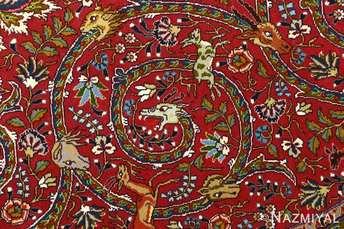 red animal motif vintage tabriz persian rug 51139 dragon Nazmiyal