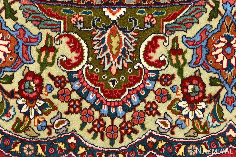 red animal motif vintage tabriz persian rug 51139 flower Nazmiyal