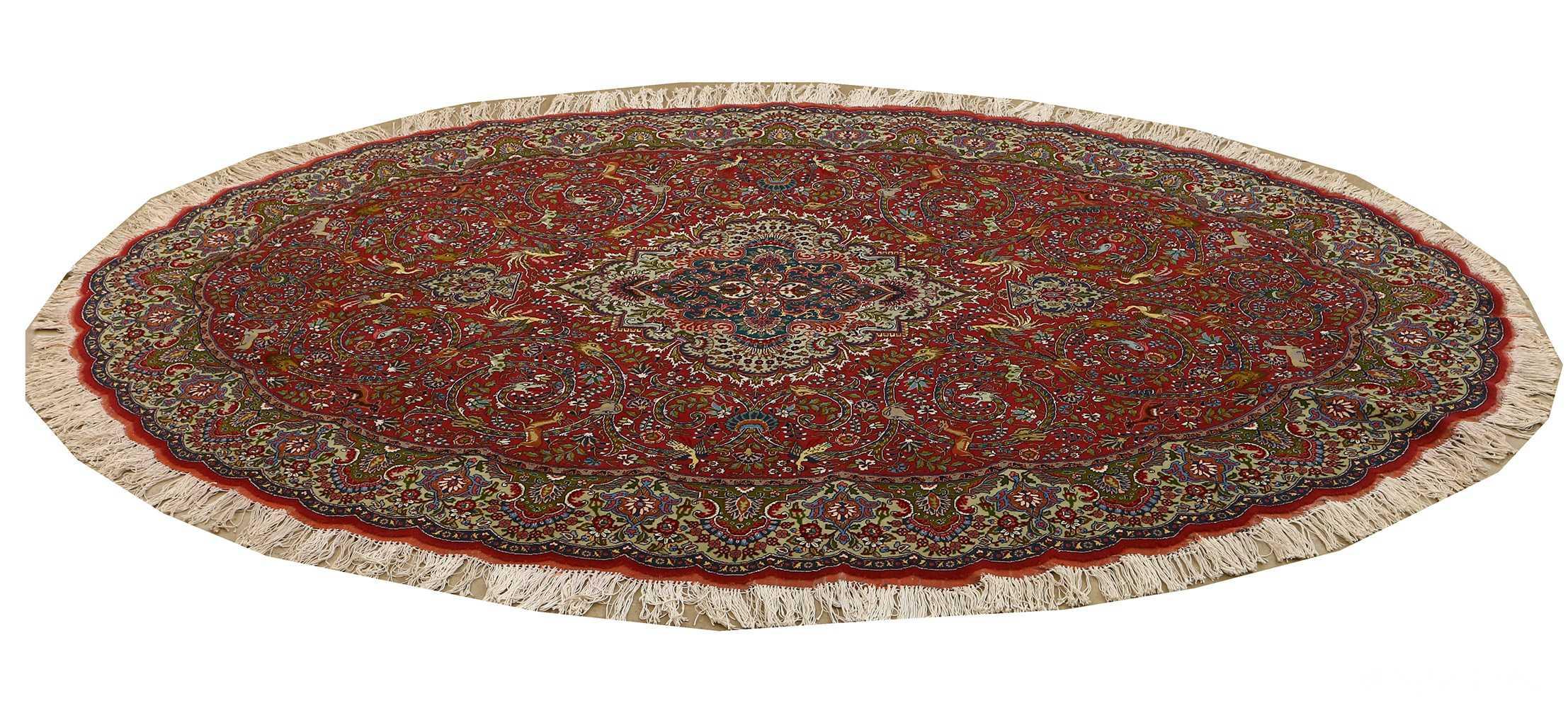 red animal motif vintage tabriz persian rug 51139 horizontal Nazmiyal