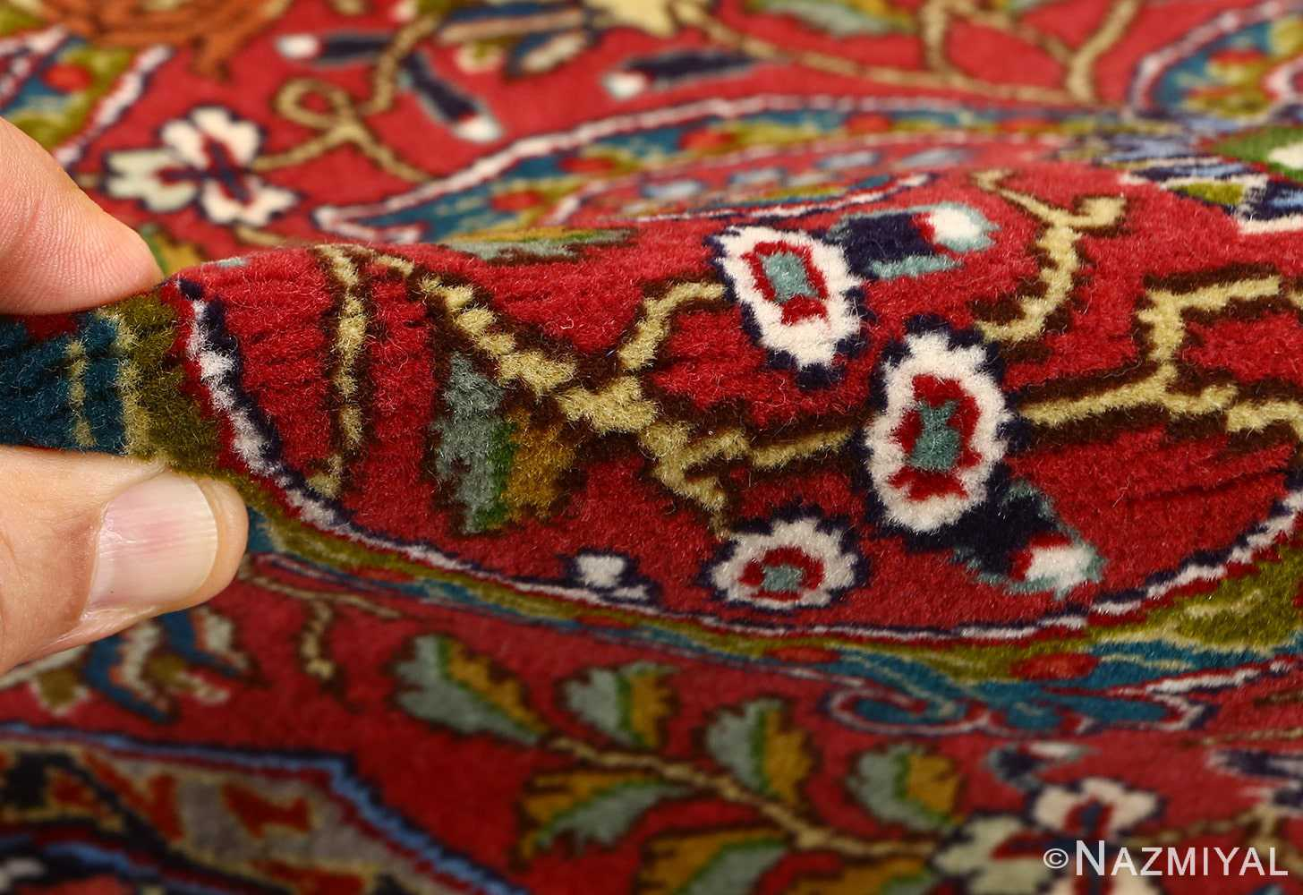 red animal motif vintage tabriz persian rug 51139 pile Nazmiyal