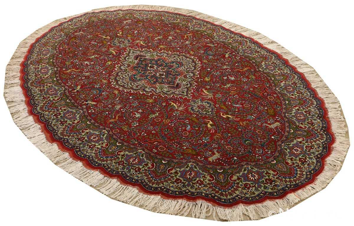 red animal motif vintage tabriz persian rug 51139 side Nazmiyal