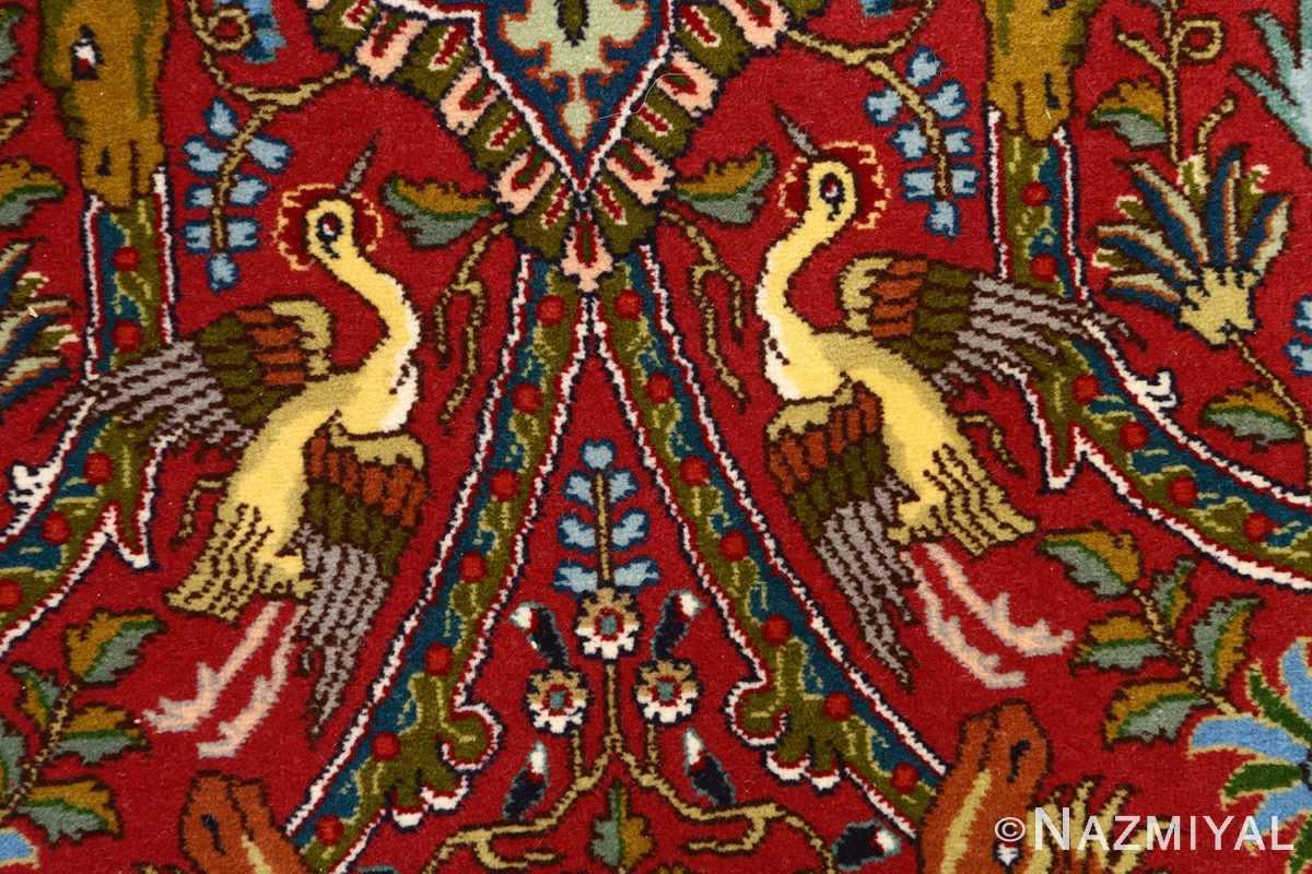 red animal motif vintage tabriz persian rug 51139 simorgh Nazmiyal