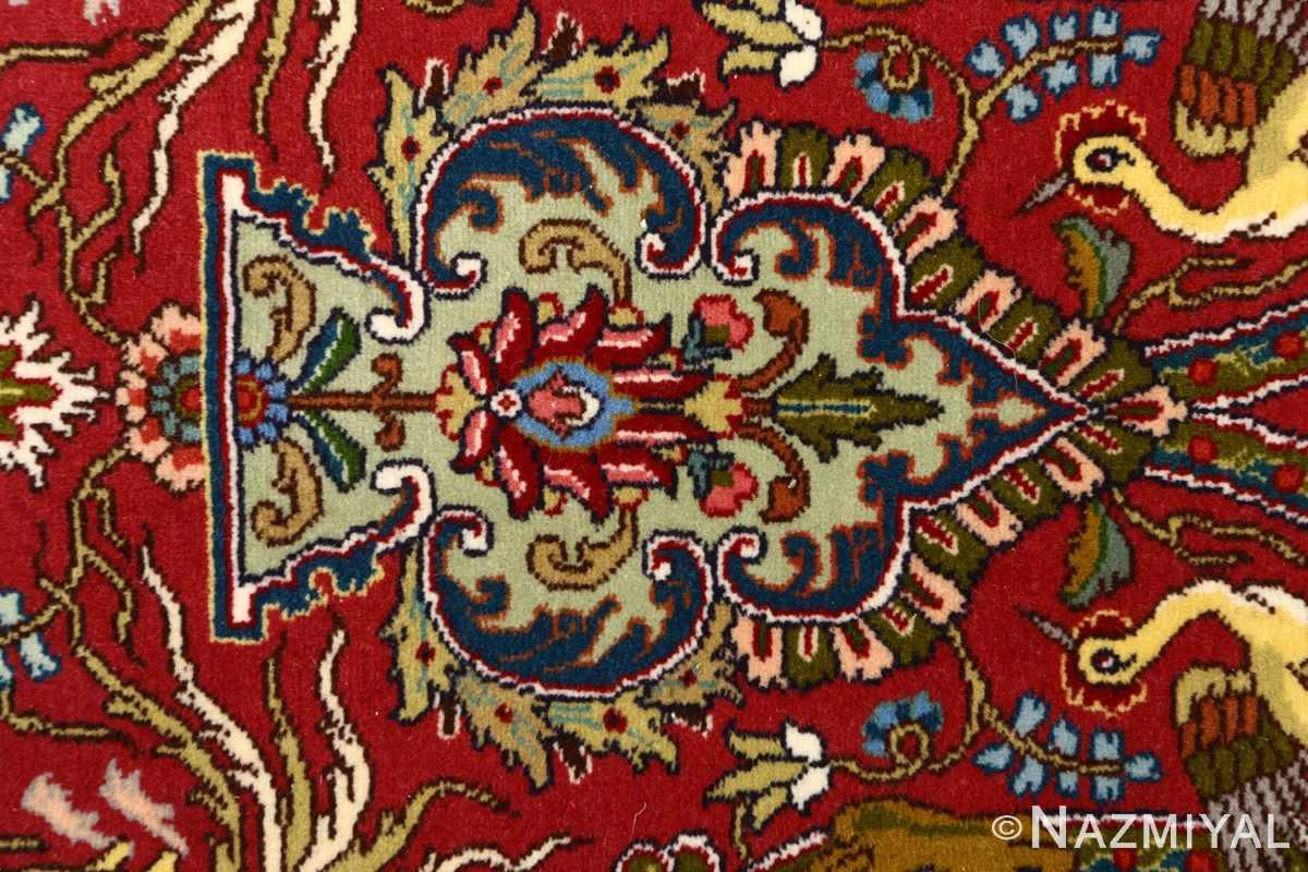 red animal motif vintage tabriz persian rug 51139 tiara Nazmiyal