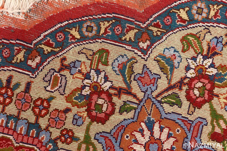 red animal motif vintage tabriz persian rug 51139 weave Nazmiyal