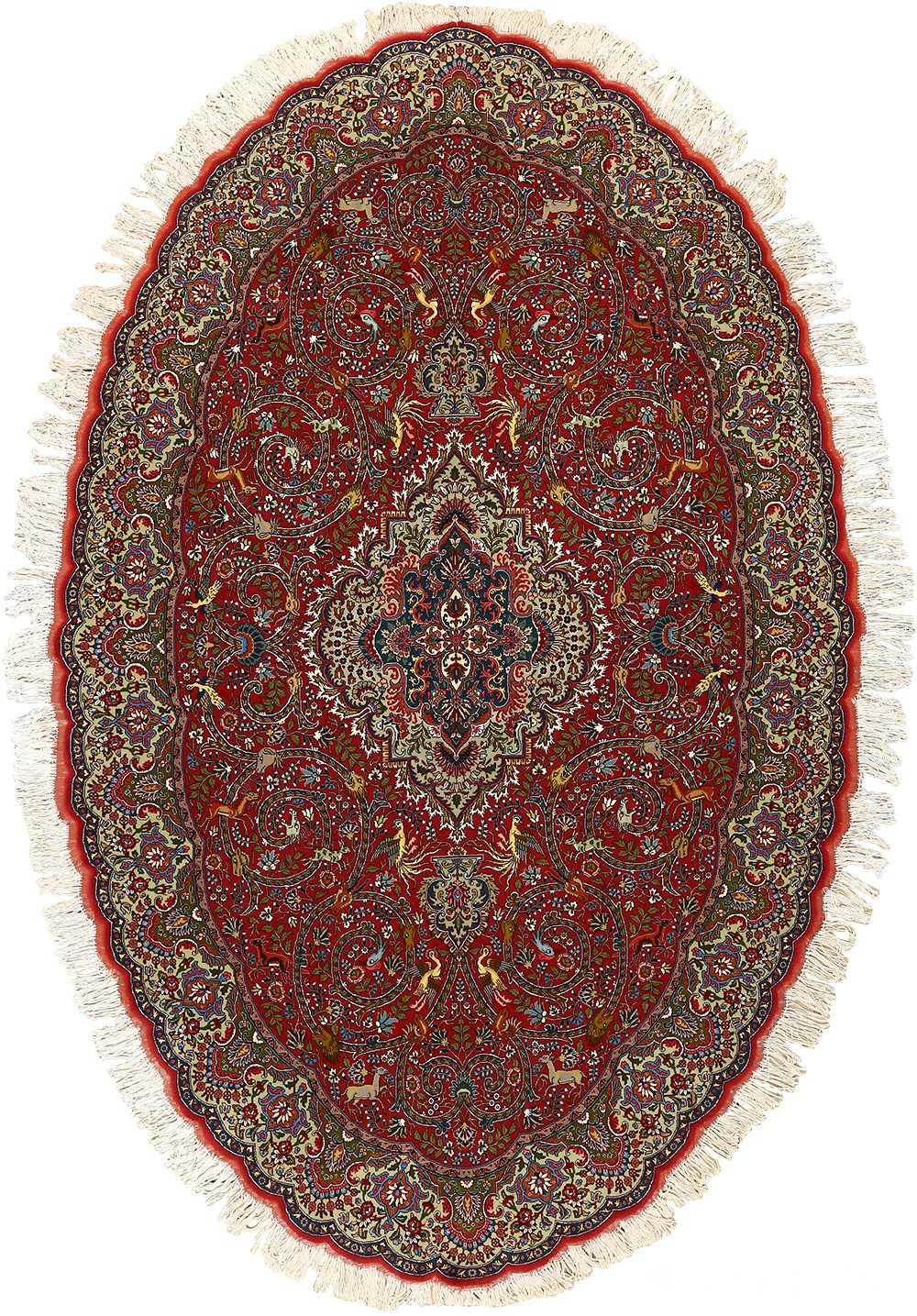 red animal motif vintage tabriz persian rug 51139 Nazmiyal