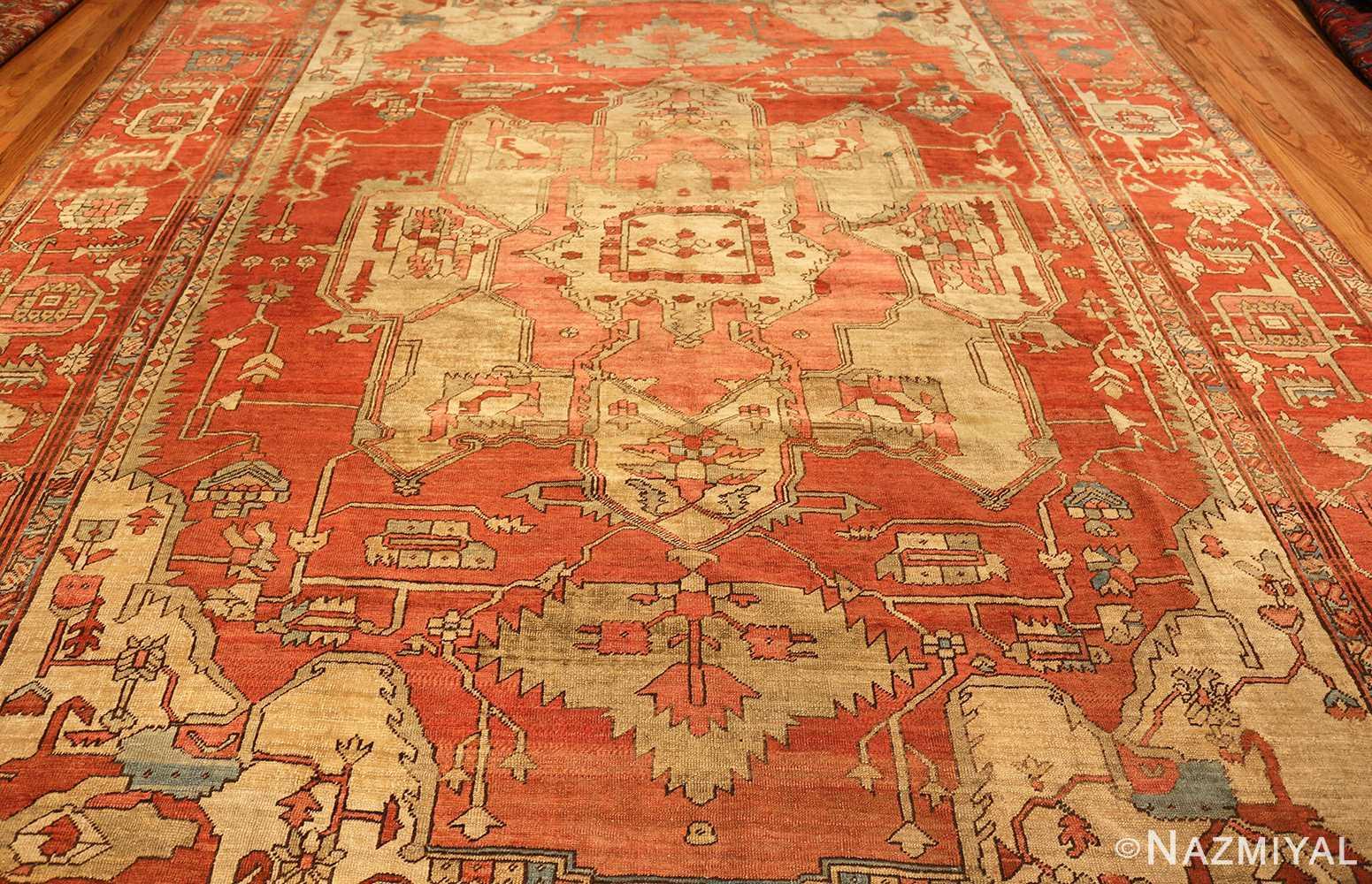 red background antique serapi persian rug 49351 full Nazmiyal