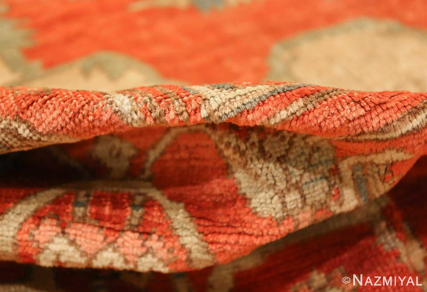 red background antique serapi persian rug 49351 pile Nazmiyal