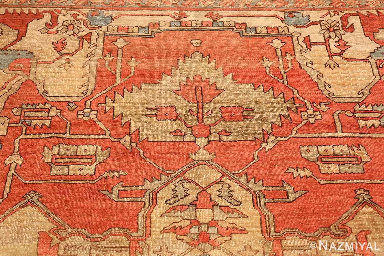 red background antique serapi persian rug 49351 top Nazmiyal