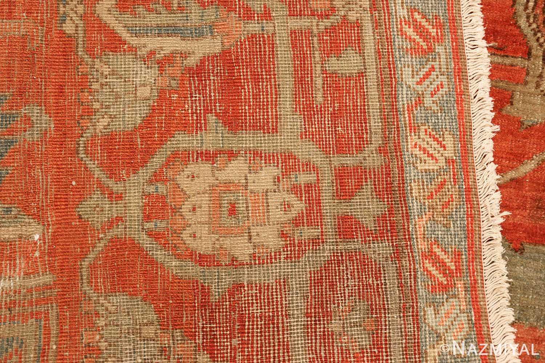 red background antique serapi persian rug 49351 weave Nazmiyal