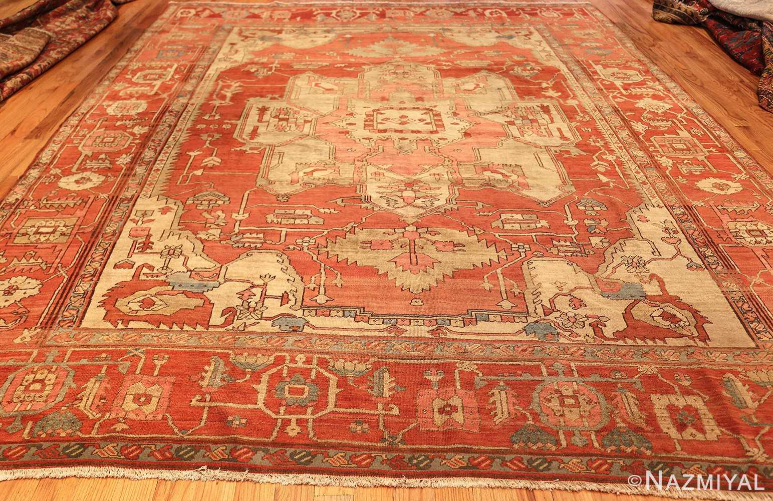 red background antique serapi persian rug 49351 whole Nazmiyal
