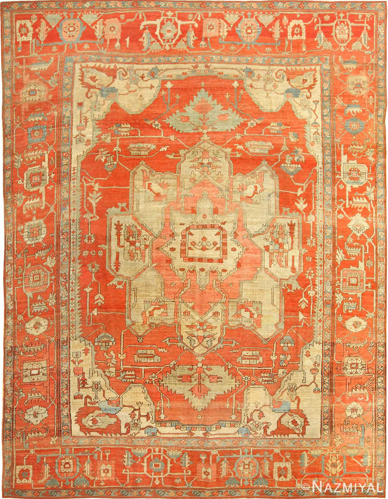 red background antique serapi persian rug 49351 Nazmiyal