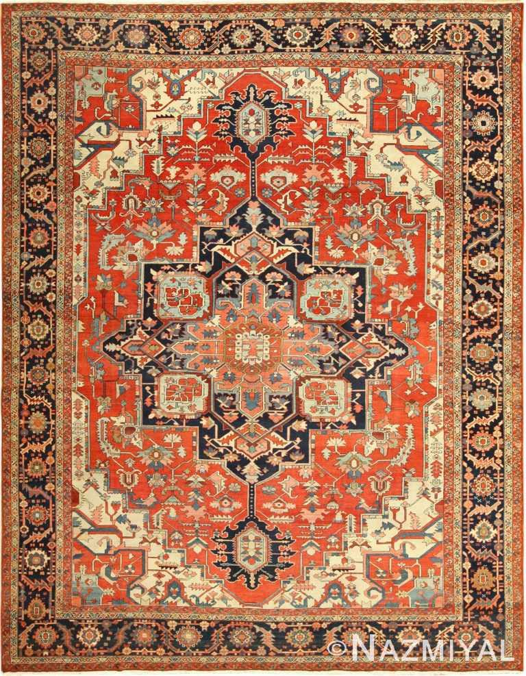 red background antique serapi persian rug 49358 Nazmiyal