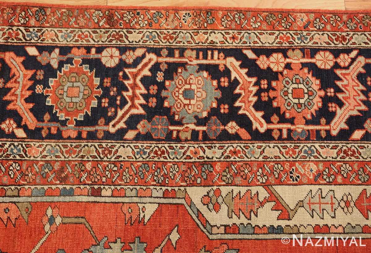red background antique serapi persian rug 49358 border Nazmiyal