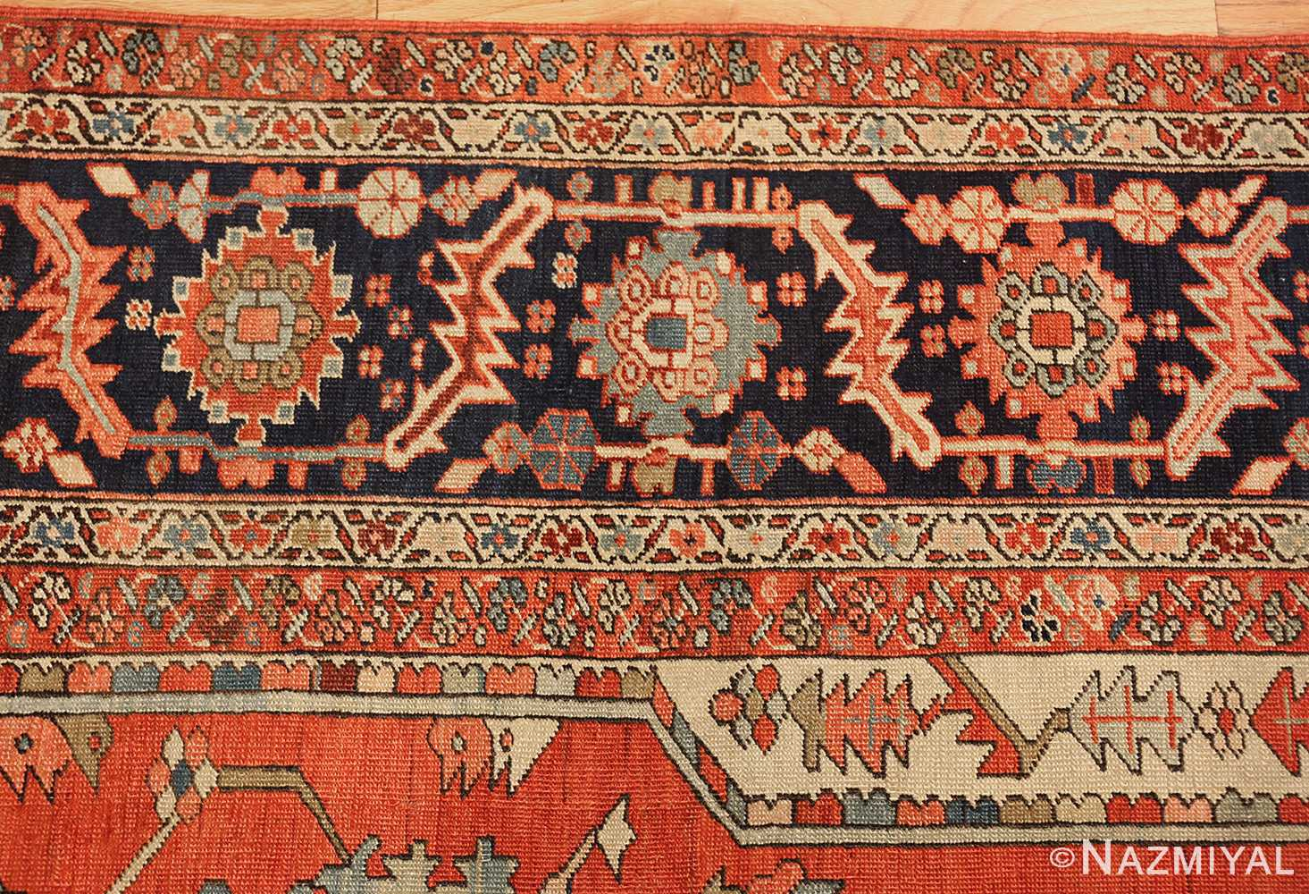 red background antique serapi persian rug 49358 border Nazmiyal