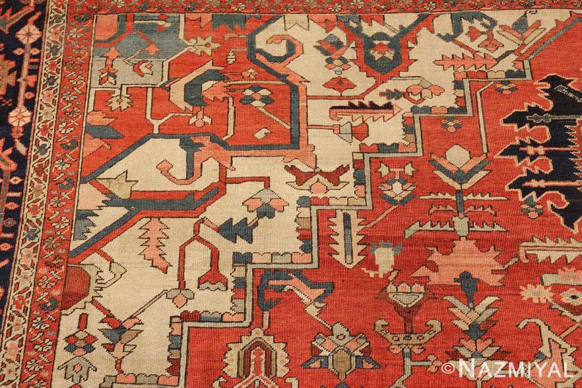 red background antique serapi persian rug 49358 design Nazmiyal
