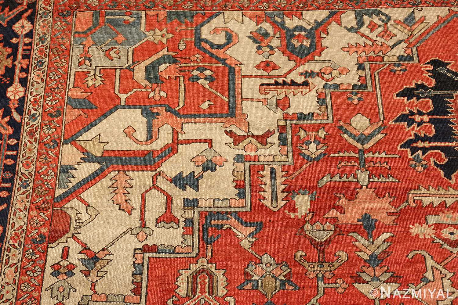 red background antique serapi persian rug 49358 design Nazmiyal