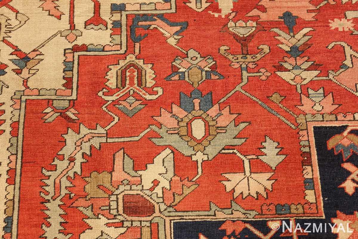 red background antique serapi persian rug 49358 flowers Nazmiyal