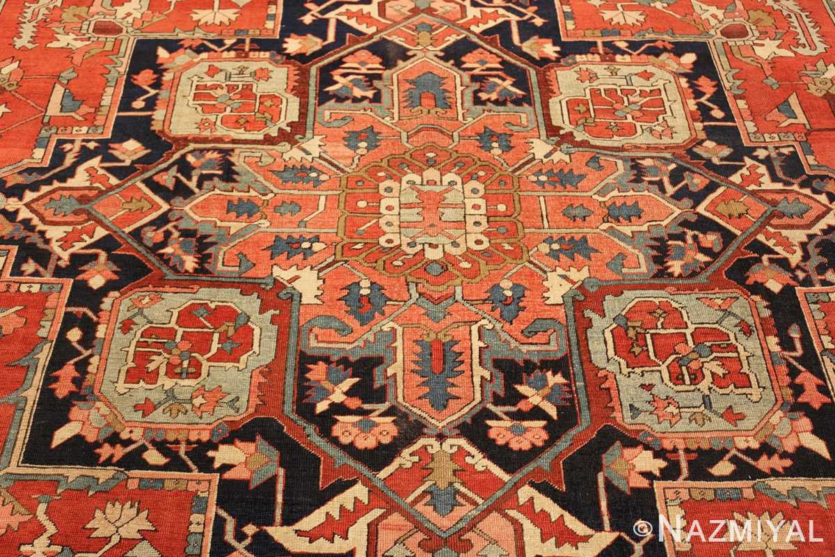 red background antique serapi persian rug 49358 medallion Nazmiyal