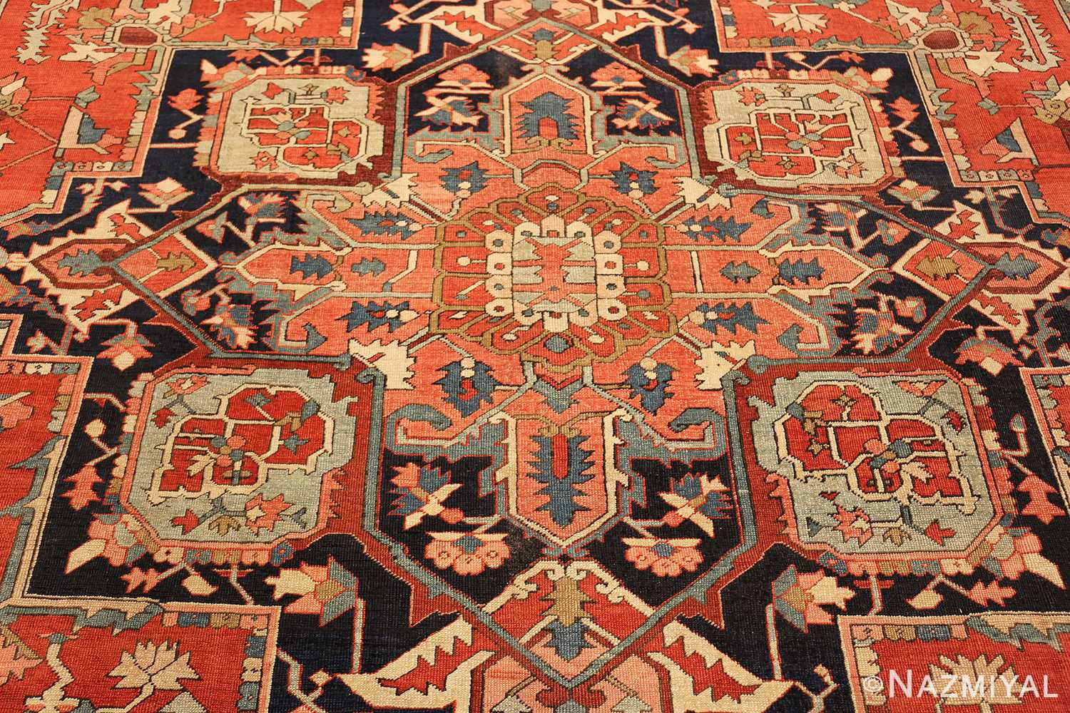 red background antique serapi persian rug 49358 medallion Nazmiyal