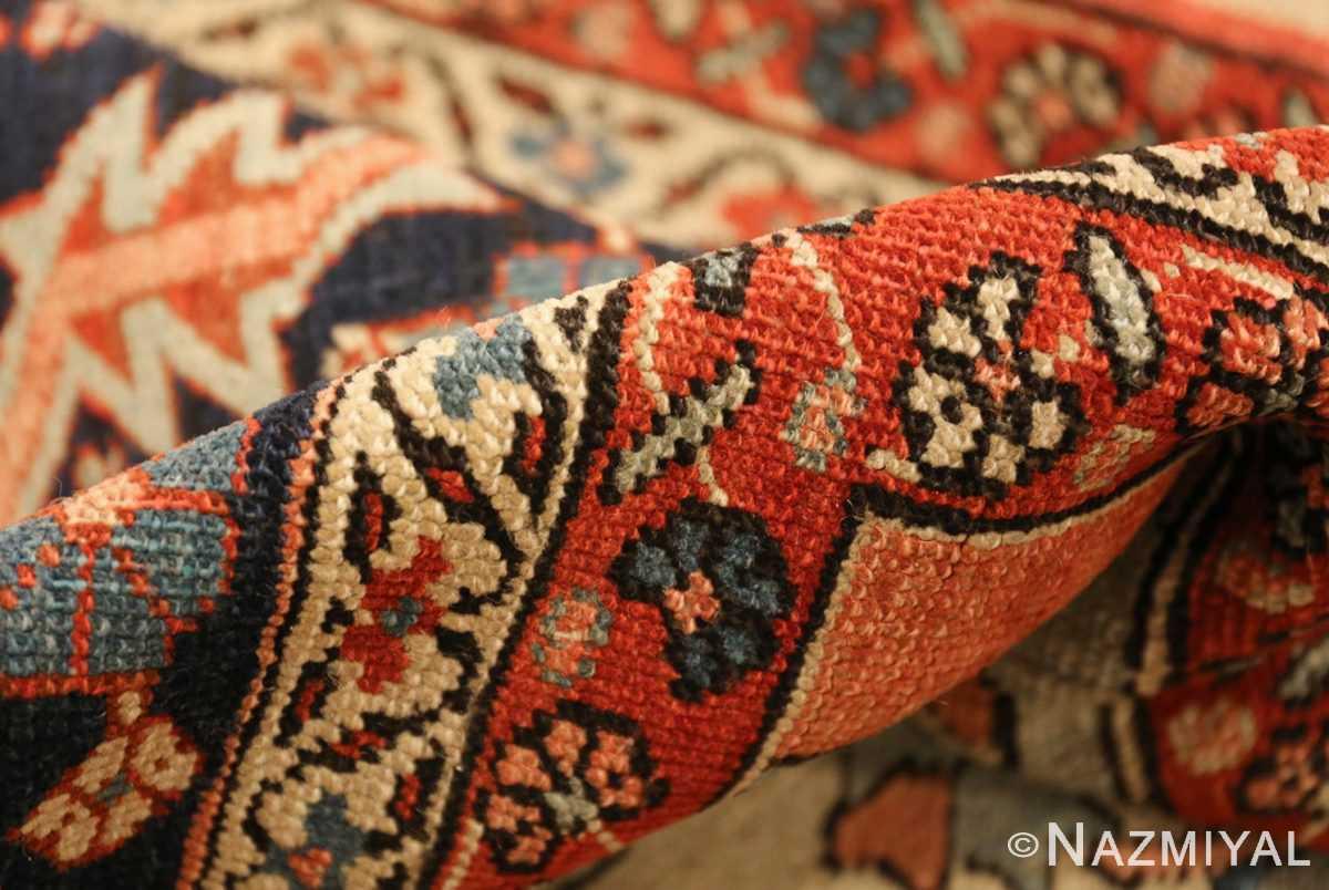 red background antique serapi persian rug 49358 pile Nazmiyal