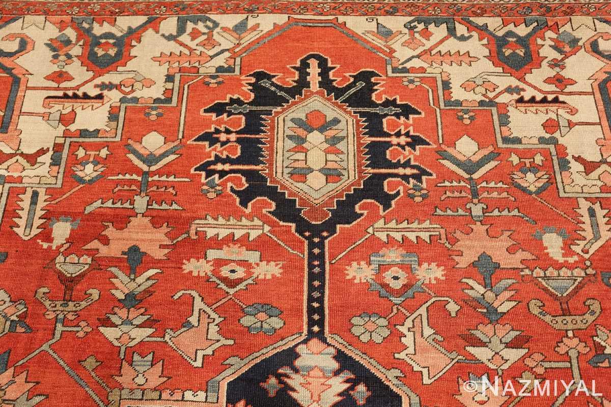 red background antique serapi persian rug 49358 tiara Nazmiyal