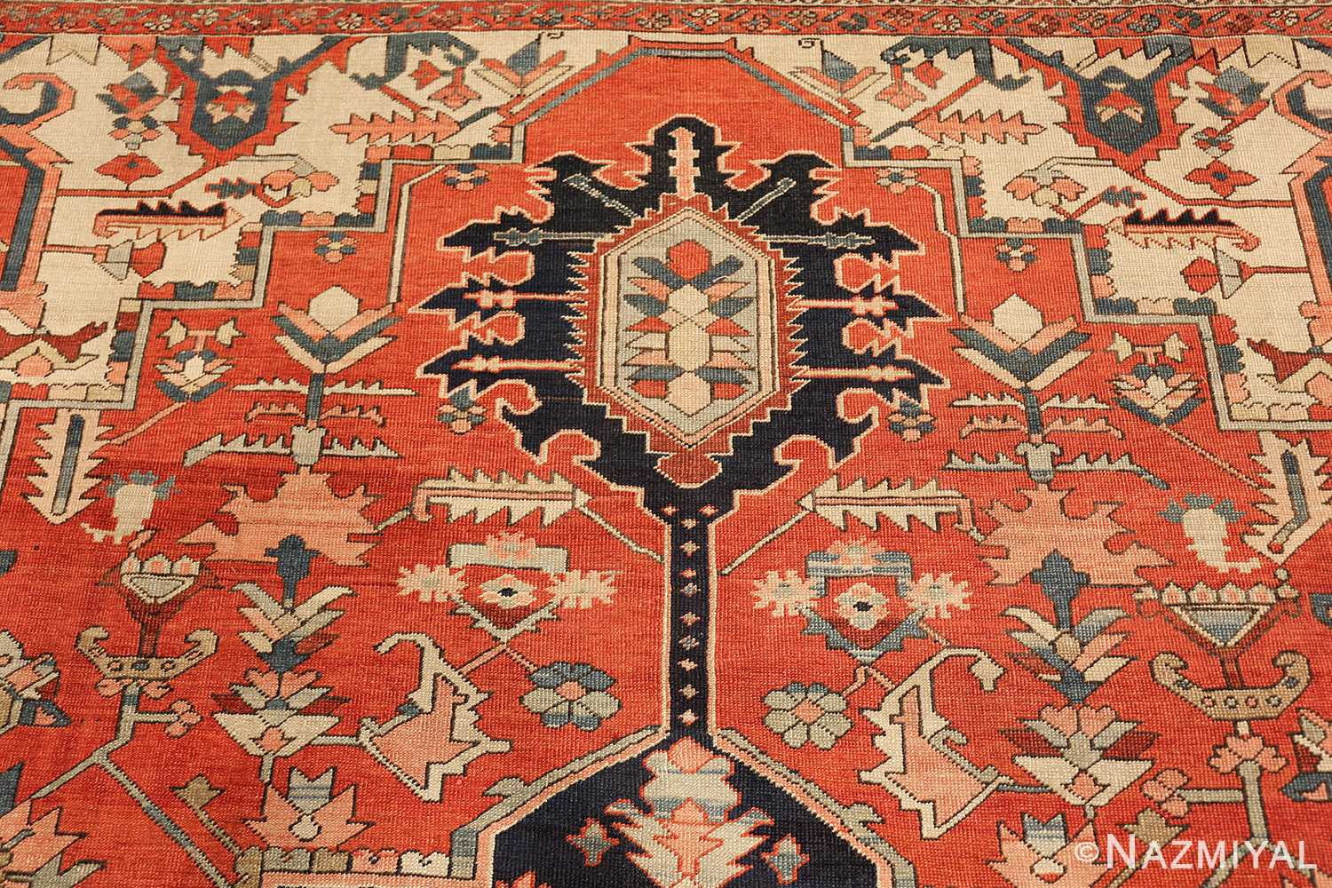red background antique serapi persian rug 49358 tiara Nazmiyal