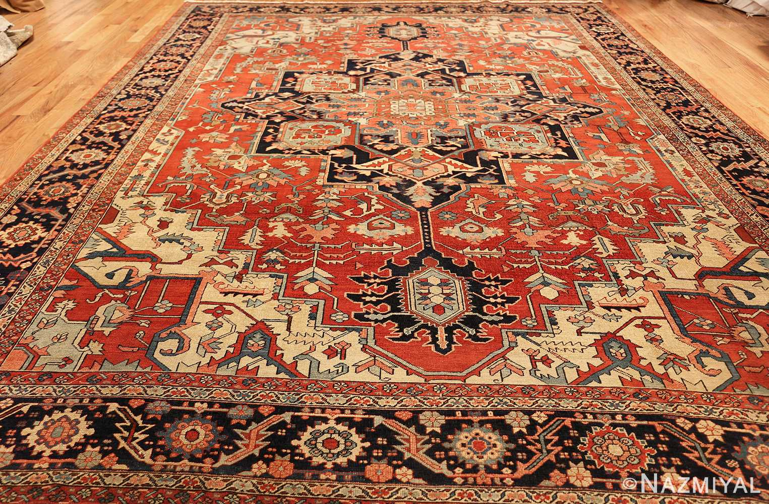 red background antique serapi persian rug 49358 whole Nazmiyal