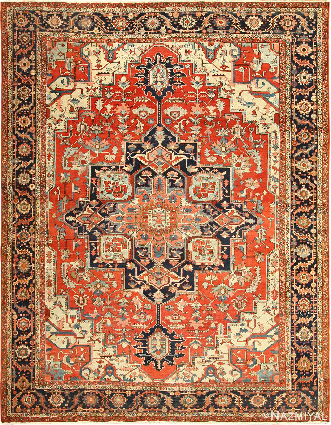 red background antique serapi persian rug 49358 Nazmiyal