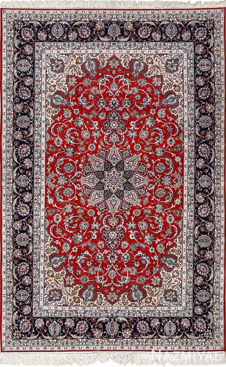 red background vintage isfahan persian rug 51151 Nazmiyal