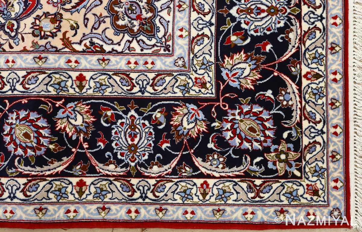 red background vintage isfahan persian rug 51151 corner Nazmiyal