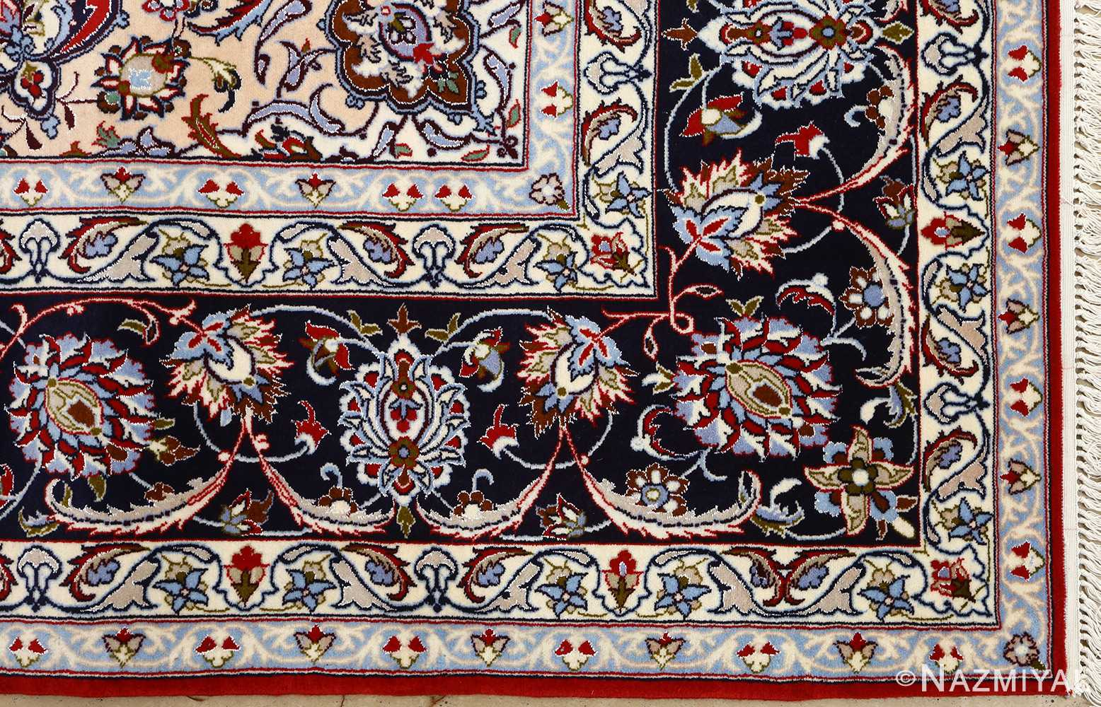 red background vintage isfahan persian rug 51151 corner Nazmiyal