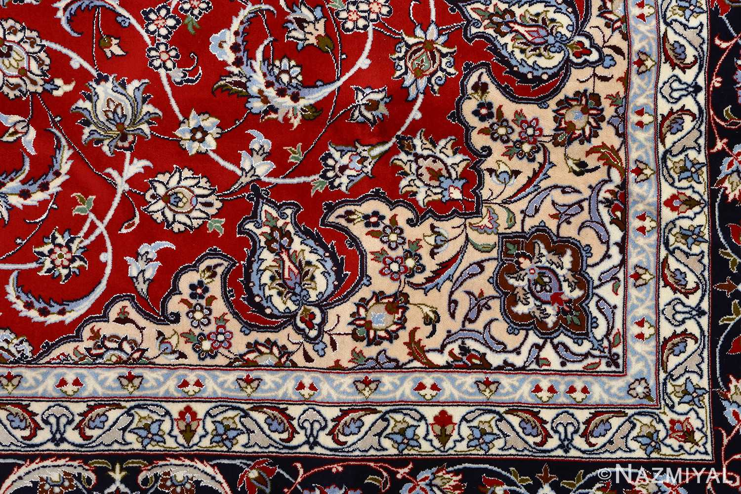 red background vintage isfahan persian rug 51151 design Nazmiyal