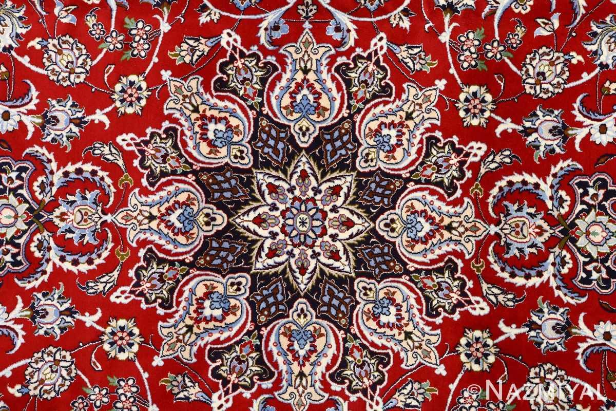red background vintage isfahan persian rug 51151 medallion Nazmiyal