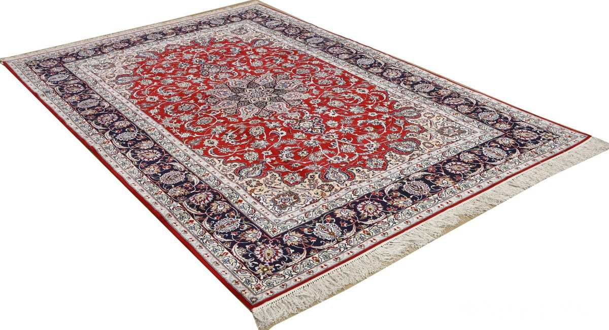 red background vintage isfahan persian rug 51151 side Nazmiyal
