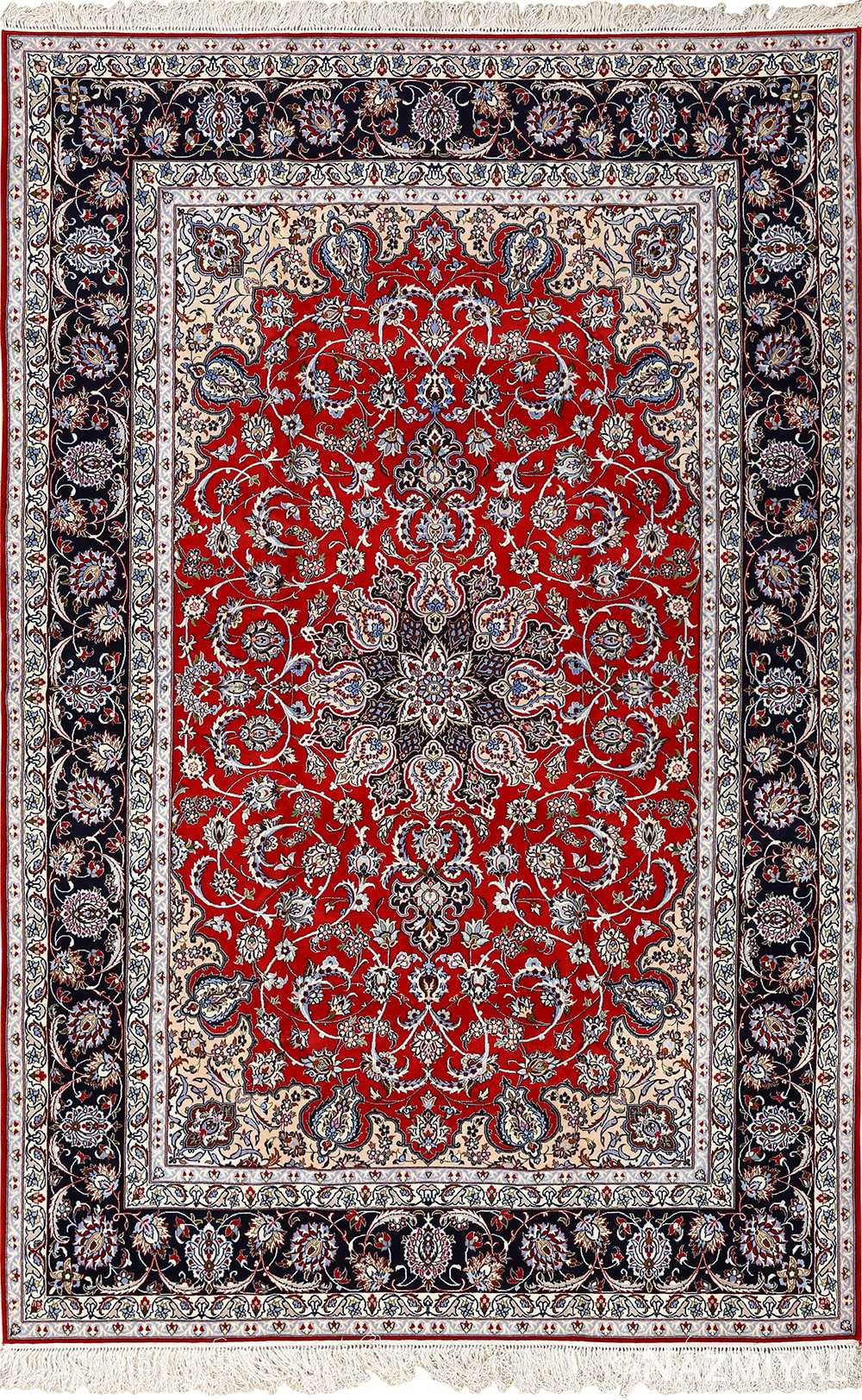 red background vintage isfahan persian rug 51151 Nazmiyal