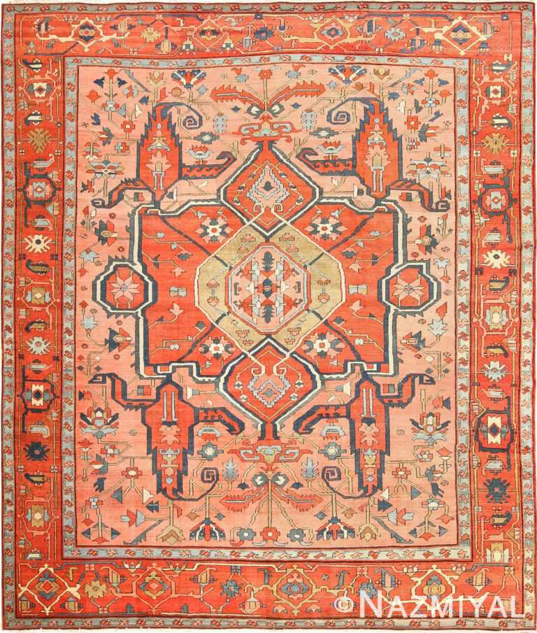roomsize antique serapi persian rug 49326 Nazmiyal